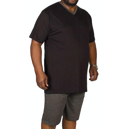Bigdude Kurzer Pyjama mit V-Ausschnitt Schwarz / Anthrazit