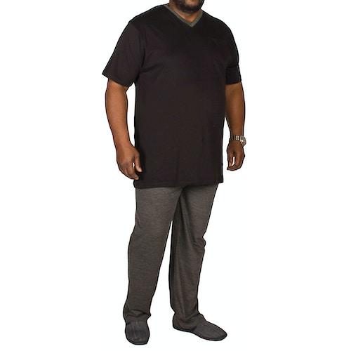 Bigdude V-Neck Pyjamas Black/Charcoal