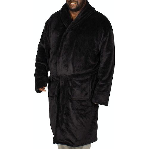 Bigdude Plain Fleece Dressing Gown Black