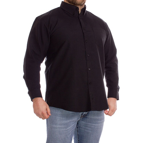 KAM Long Sleeve Oxford Shirt Black