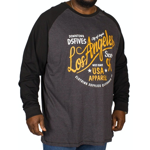D555 Neill Printed Raglan T-Shirt Charcoal