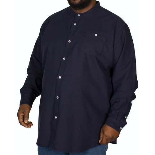 D555 Cameron Grandad Oxford Shirt Navy
