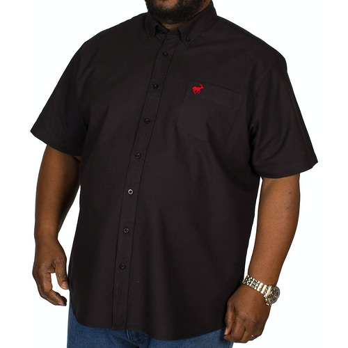 Bigdude Kurzarm Oxford Hemd Schwarz