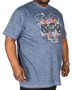D555 Bradley Bikers Club Print T-Shirt Blue Tall