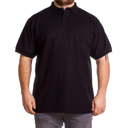 KAM Black Short Sleeve Plain Polo Shirt