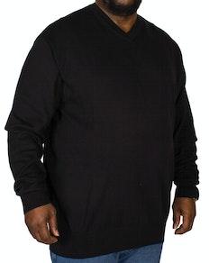 KAM V-Neck Long Sleeve Knitted Jumper Black