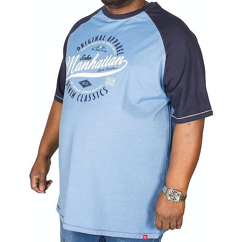 D555 Manhattan Print T-Shirt Gunner Blau Tall Fit