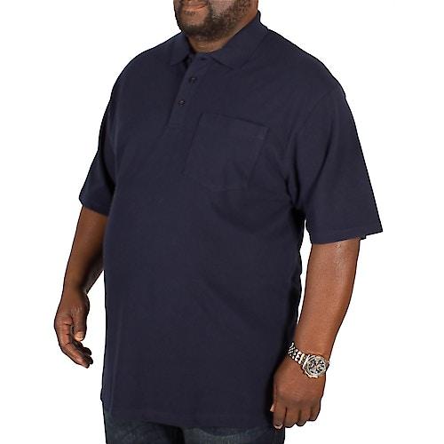 Bigdude Poloshirt mit Brusttasche Marineblau Tall Fit
