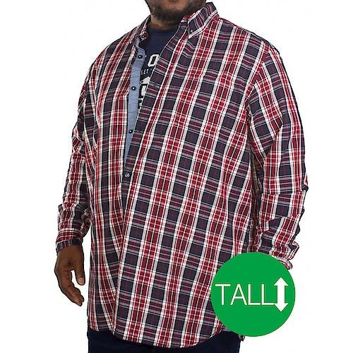 D555 Truman Long Sleeve Shirt & T-shirt Combo Red Tall