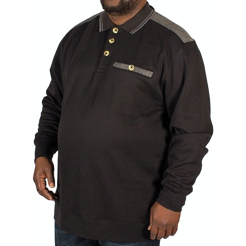 KAM Tipped Collar Polo Sweater Black