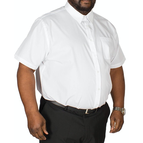 D555 klassisches Kurzarmhemd Delmar Weiß