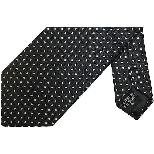 Knightsbridge Extra Long Polka Dot Squares Tie Black