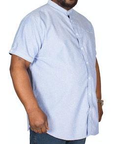 D555 Oxford Hemd Dwight ohne Kragen Himmelblau Tall Fit