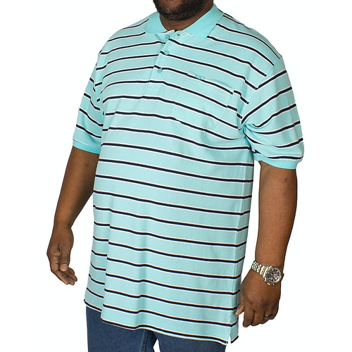KAM Forge Stripe Polo Shirt Turquoise