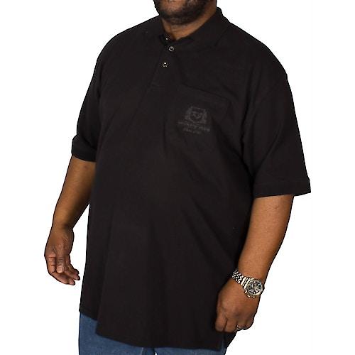 KAM Embroidered Pocket Polo Shirt Black
