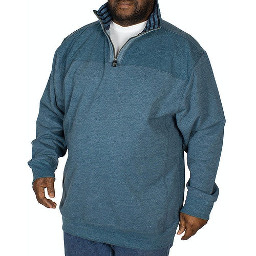 KAM Quarter Zip Canvas Sweater Denim