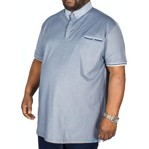 D555 Journey Fine Melange Pique Polo Shirt Navy Tall