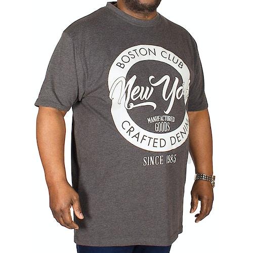 KAM Boston New York Print T-Shirt Charcoal