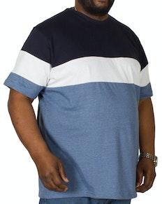 Bigdude Cut & Sew T-Shirt Blau/Weiß
