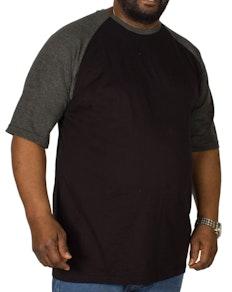 Bigdude Contrast Raglan Sleeve T-Shirt Black/Charcoal
