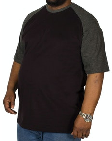 Bigdude Contrast Raglan Sleeve T-Shirt Black/Charcoal Tall