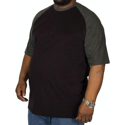 Bigdude T-Shirt mit Raglanärmeln Schwarz/Dunkelgrau Tall Fit