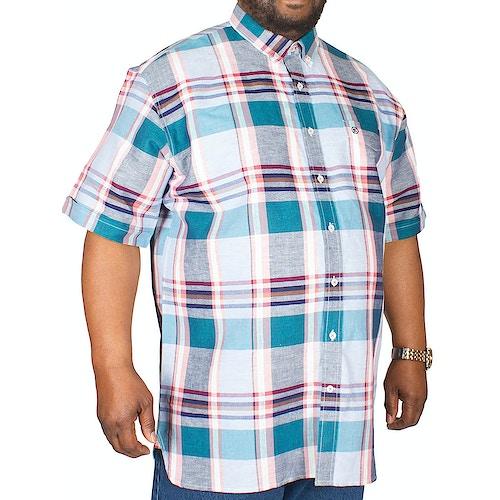 Espionage Linen Check Shirt Coral/Turquoise