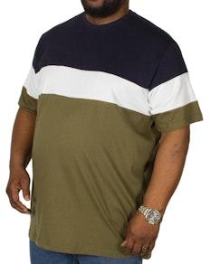 Bigdude Cut & Sew T-Shirt Marineblau/Olivgrün
