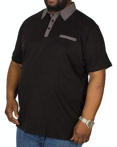 Bigdude Contrast Jersey Polo Shirt Black