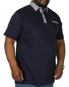 Bigdude Contrast Jersey Polo Shirt Navy