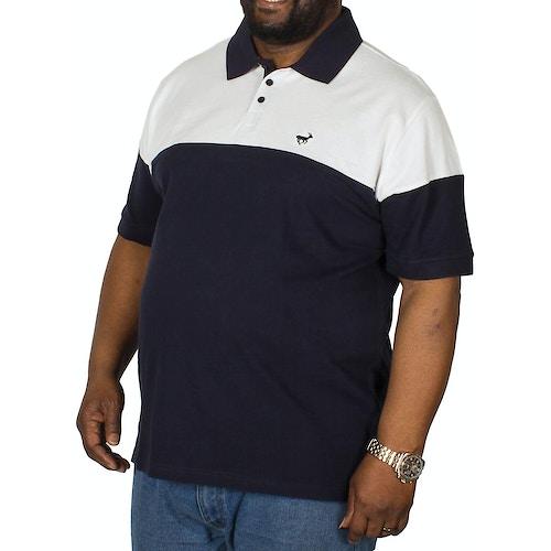 Bigdude Cut & Sew Poloshirt Weiß / Marineblau