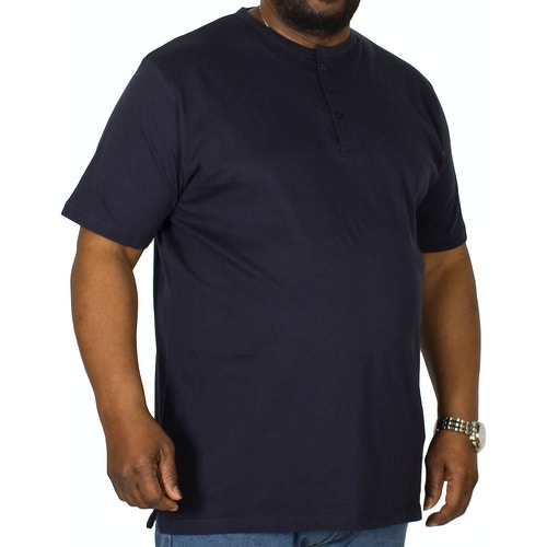 Bigdude T-Shirt mit Knopfleiste Marineblau