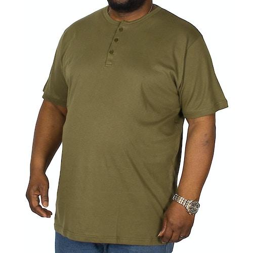 Bigdude T-Shirt mit Knopfleiste Olivgrün