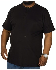 Bigdude T-Shirt mit Knopfleiste Schwarz