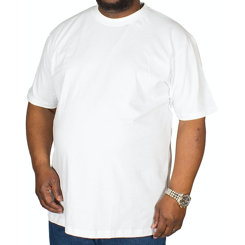 Bigdude Plain Crew Neck T-Shirt White Tall