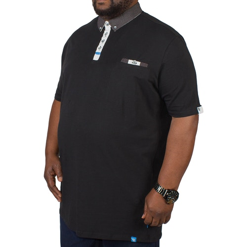 D555 Edger Short Sleeve Stretch Cotton Polo With Woven Collar Black