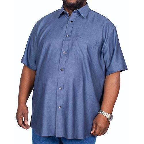 Cotton Valley Fischgrätenmuster Kurzarmhemd Jeansblau