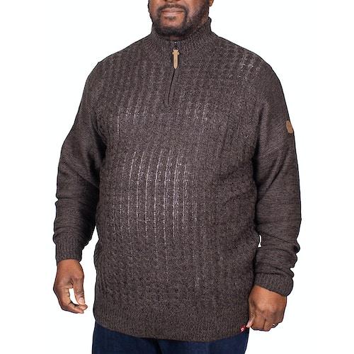D555 Louie Cable Knit Zipper Neck Sweater Black Twist