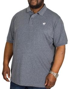 Bigdude meliertes Jersey Poloshirt Dunkelblau