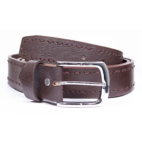 Chad Leather Heavy Stitch Belt Dark Brown
