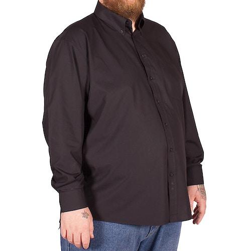 Espionage Traditional Long Sleeve Button Down Plain Shirt Black