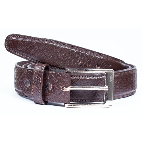 Donald Leather Snakeskin Belt Dark Brown