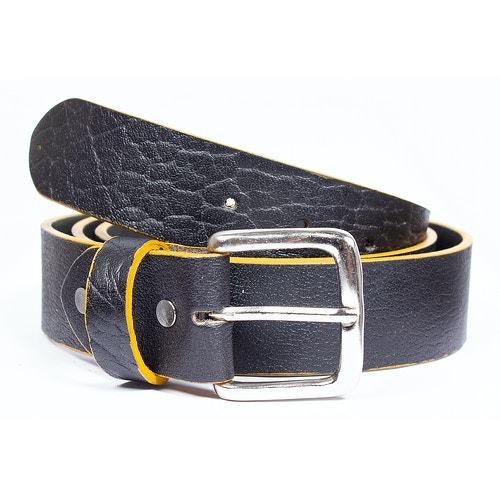 Larry Leather Contrast Edge Belt Black
