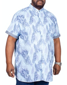 D555 Santana Printed Short Sleeve Shirt Sky Blue