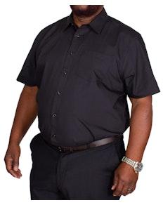 Bigdude Classic Short Sleeve Poplin Shirt Black Tall
