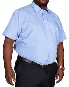 Bigdude klassisches Kurzarm Popeline Hemd Hellblau