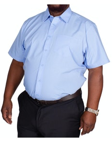 Bigdude Classic Short Sleeve Poplin Shirt Light Blue Tall