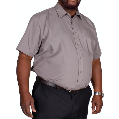 Bigdude Classic Short Sleeve Poplin Shirt Charcoal