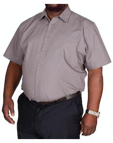 Bigdude Classic Short Sleeve Poplin Shirt Charcoal Tall