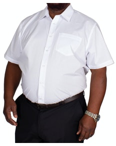 Bigdude klassisches Kurzarm Popeline Hemd Weiß